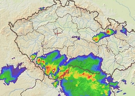 Bouřky na Českokrumlovsku v neděli v 17:30.