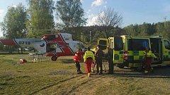 Záchranky chvátaly do Vyššího Brodu na pomoc mladému muži.