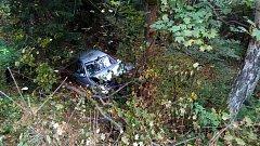 Nehoda před Loučovicemi směrem do Vyššího Brodu.