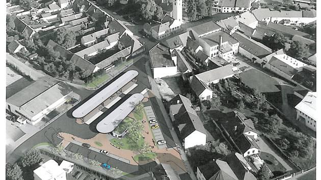 Pohled shora, jak by mělo vypadat nové autobusové nádraží ve Velešíně.