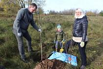 Sázení stromků byla hromadná akce, zapojily se do ní i celé rodiny.