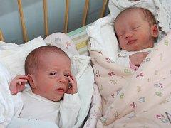Dvojčátka Leontýna a Amálie Litvanovy se narodily 25. dubna 2012 kájovským Pavlíně a Milanovi Litvanovým. O minutu starší je 44 centimetrů měřící a 2265 gramů vážící Leontýna (vlevo), která vykoukla na svět v 8.14 hodin. Amálie měla míry 46 cm a 2055 g.
