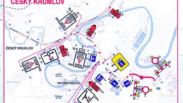 Červená barva označuje uzavřený úsek, modrá trasa pro vozidla nad 3,5 tuny, žlutá do 3,5 tuny.