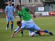 Ondrášovka KP muži – 2. kolo: FK Slavoj Český Krumlov (zelené dresy) – FK Protivín 1:0 (1:0).