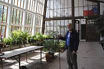 Zahradní architekt Jiří Olšan ve velkém skleníku.