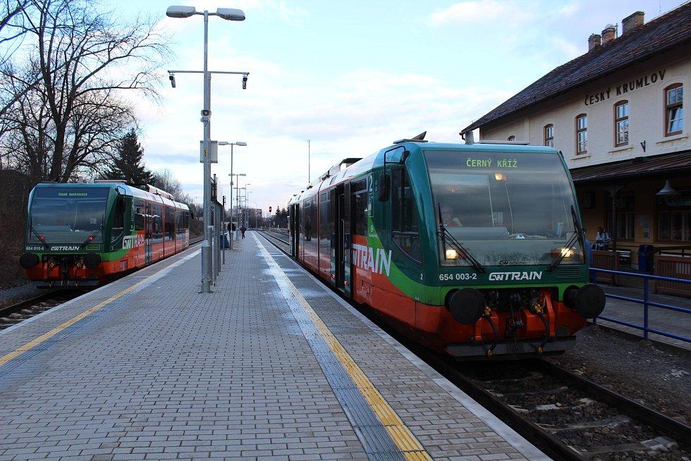 Dopravce GW Train a. s., provozuje trať z Českých Budějovic do Černého Kříže a Nového Údolí.