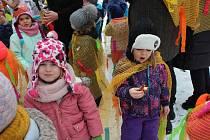 Masopustní dovádění dětí na sněhu rozhlaholilo zahradu krumlovské Mateřské školky Na Vyšehradě.