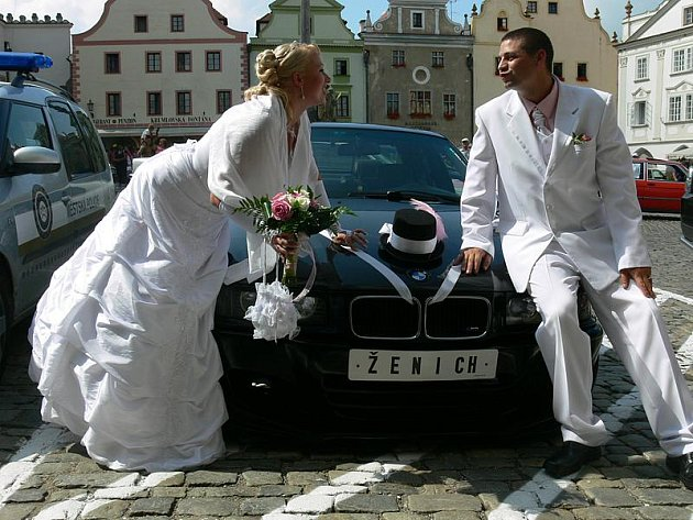 Svatba v Českém Krumlově a zároveň sraz vozů BMW.