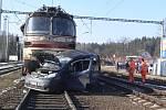Nehoda na vlakovém nádraží v Kaplici.