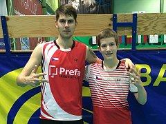 Jaromír Janáček a Tomáš Švejda (zleva) z SK Badminton Český Krumlov.