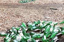 Hromady skleněných lahví v Domoradicích.