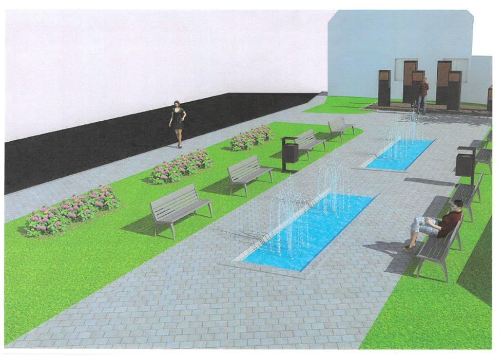 """Odpočinková klidová zóna s výhledem na """"pamětní ostrůvek"""" s pomníky.  Návrh č. 1"""