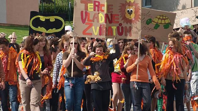 Svůj svátek oslavili v pátek studenti kaplického gymnázia a střední odborné školy ekonomické. V rámci tradičního majálesu, jenž se tentokrát nesl v duchu tématu zvířata, prošli městem převlečení za papoušky, mravence nebo želvy.