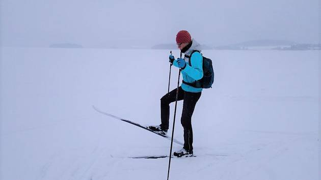 Na běžky na Jestřábí v pondělí dopoledne vyrazila Eva Cieslarová. Držela se raději u břehu, na ledu jsou i velké pukliny a vylitá voda.