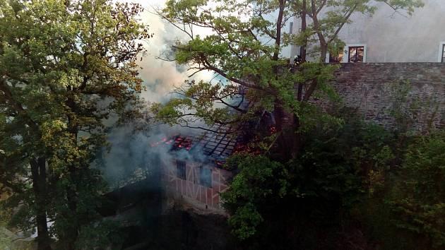 Požár domečku v Českém Krumlově