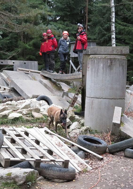 V rakouském příhraničí vybuchl muniční sklad, v jeho troskách zůstalo šest osob. Záchranné brigády kynologů z pěti krajů změřily síly v prohledávání sutin i poslušnosti.