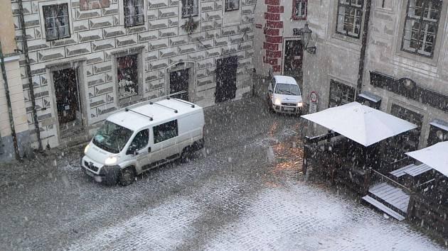 Sníh v Českém Krumlově.