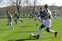I.A třída dorostu – 14. kolo: SK Jankov (zelené dresy) – FK Spartak Kaplice / FK Dynamo Vyšší Brod 0:0, na penalty 3:4.