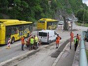 Rekonstrukce křižovatky u Porákova mostu v Českém Krumlově v roce 2016.