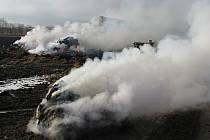 Požár stohu u Mojného.