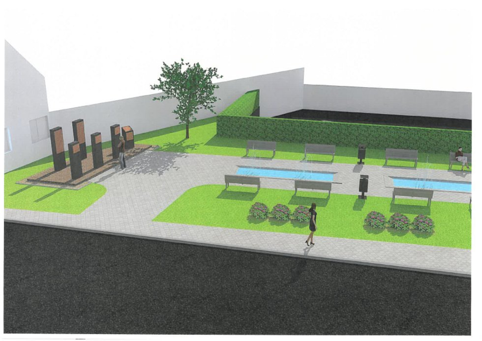 """Odpočinková klidová zóna s výhledem na """"pamětní ostrůvek"""" s pomníky.  Návrh č. 1."""