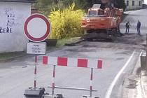 Silnice z Větřní na Frymburk je zavřená.