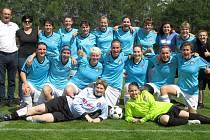 Divize ženy (skupina D) – 18. kolo: FK Spartak Kaplice (modré dresy) – TJ Jiskra Třeboň 1:1 (1:1).