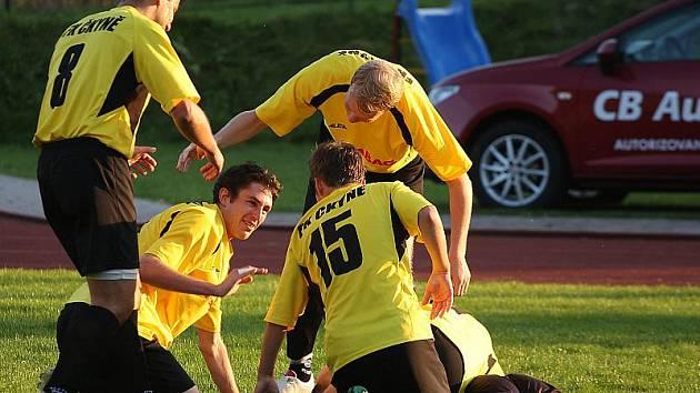 Fotbalové utkání krajského přeboru mužů / FK Slavoj Český Krumlov - SK Čkyně 2:2 (0:0).