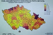 Mapa průměrné nezaměstnanosti po okresech.