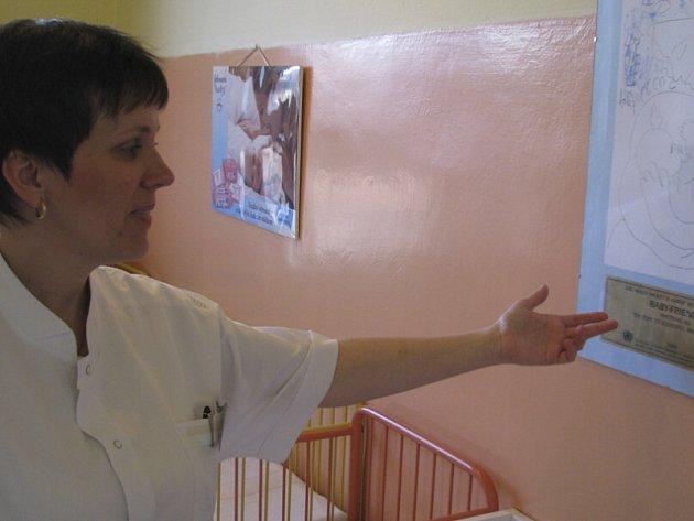 Vrchní sestra Eva Waldaufová na snímku ukazuje certifikát, kterým se nemůže pochlubit každá nemocnice.
