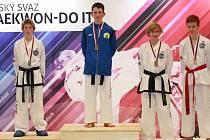 Velešínský Dominik Sluka (na nejvyšším stupni v modrém) při domácím šampionátu vybojoval titul mistra České republiky ve sportovním boji kategorie juniorů do 51 kilogramů.