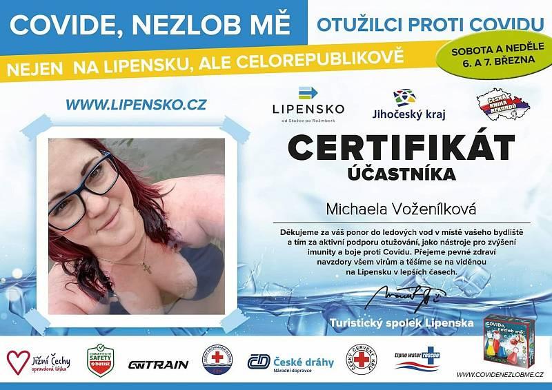 Certifikát Michaely Voženílkové.