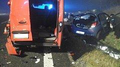Nehoda na silnici I/39 u Hořic na Šumavě.