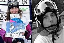 Šikovná čtrnáctiletá snowboardistka Diana Augustinová z Českého Krumlova a sedmnáctiletý Filip Guthwirth z Větřní.
