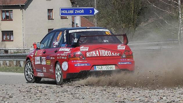 Jiří Šmíd s Jiřím Venušem obsadili při prvním letošním rallysprintu v Třebíči (na snímku) v nejsilnější třídě N4 dvanácté místo. V Lužických horách je čeká boj s pětadvaceti soupeři.