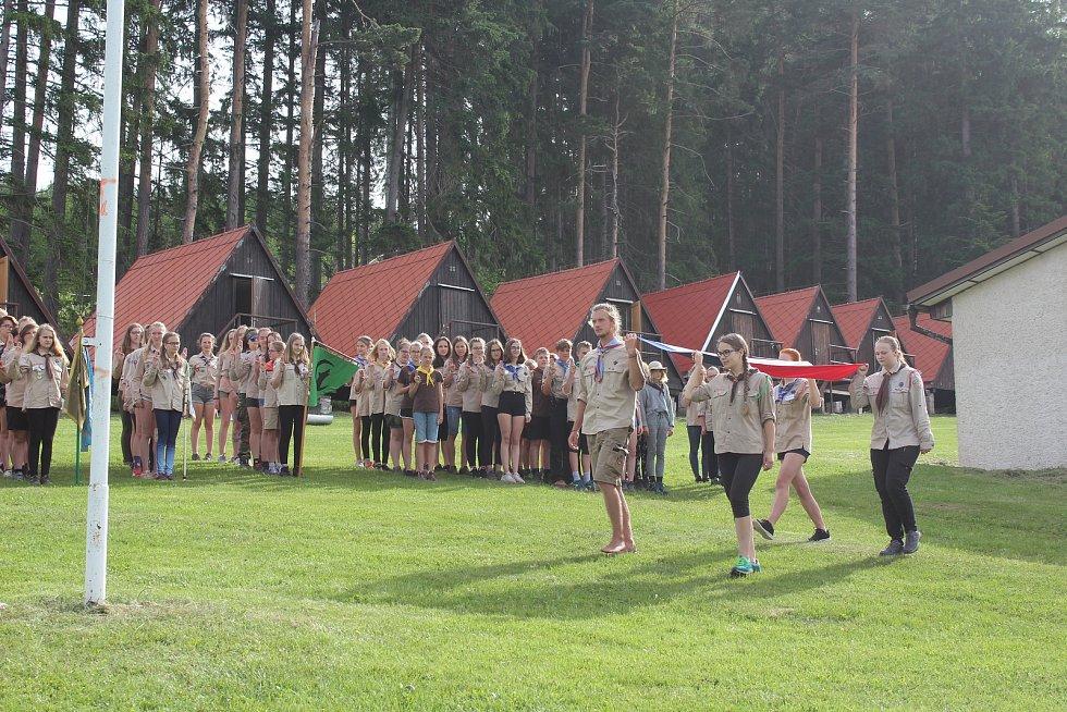 Svojsíkův závod skautů na táboře v Olšině.