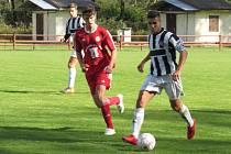 Oblastní I.B třída (skupina A) - 8. kolo (7. hrané): FK Spartak Kaplice (černobílé dresy) - 1. FC