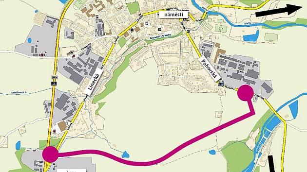 Navržená trasa první části obchvatu centra Kaplice.