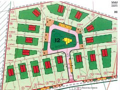 Návrh parcel na pozemku Kaplici Samoty podle regulačního plánu.