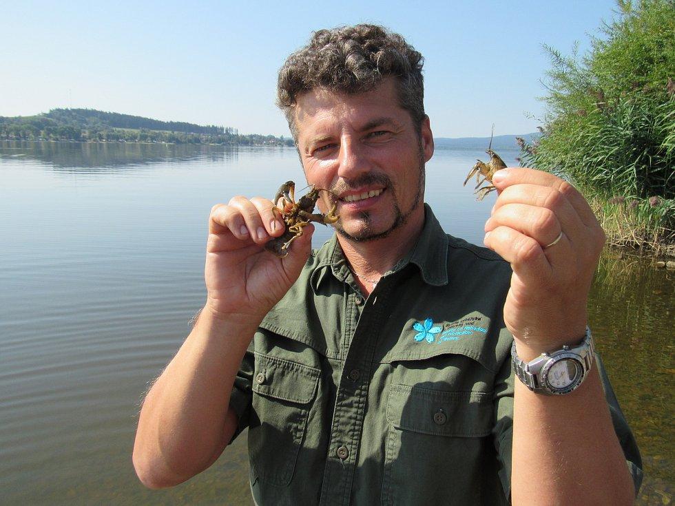Pavel Kozák, děkan Fakulty rybářství a ochrany vod Jihočeské univerzity, s invazními raky pruhovanými.