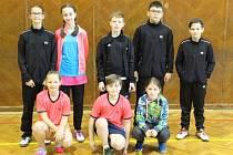 Osmička krumlovských nadějí na žákovském turnaji v Českých Budějovicích (dvakrát zlatá Eva Fišerová v horní řadě vlevo).