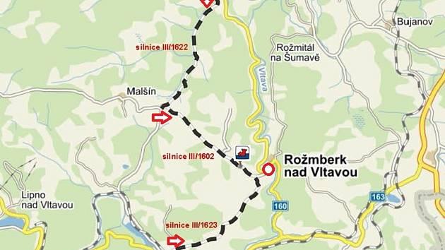 Trasa určená pro návštěvníky festivalu přijíždějící autem.