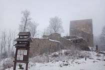 Zimní rána na Vítkově hrádku.