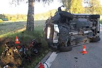 Při nedělní nehodě u Vyššího Brodu zemřel motocyklista.