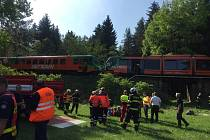 Střet dvou osobních vlaků u obce Mříč na Českokrumlovsku. Poskytla Petra Kafková, ZZS Jihočeského kraje