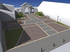 Návrh, jak by to mohlo vypadat před kostelem.