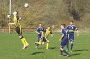 Oblastní I.B třída (skupina A) – 16. kolo: FK Spartak Kaplice (žlutočerné dresy) – TJ Nová Ves u Č. Budějovic 0:1 (0:0).