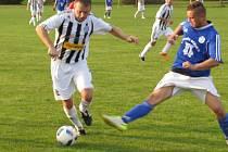 Oblastní I.B třída - 8. kolo: Spartak Kaplice (bíločerné pruhované dresy) - Sokol Suchdol nad Lužnicí 5:2 (4:0).