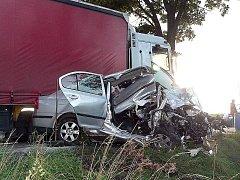 Na rovném úseku mezi Netřebicemi a kaplickým nádražím čelně narazilo do kamionu osobní auto.