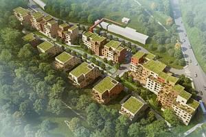 Vizualizace nové městské čtvrti Krumlovský Vltavín, která by měla vyrůst v areálu bývalé Jitony.